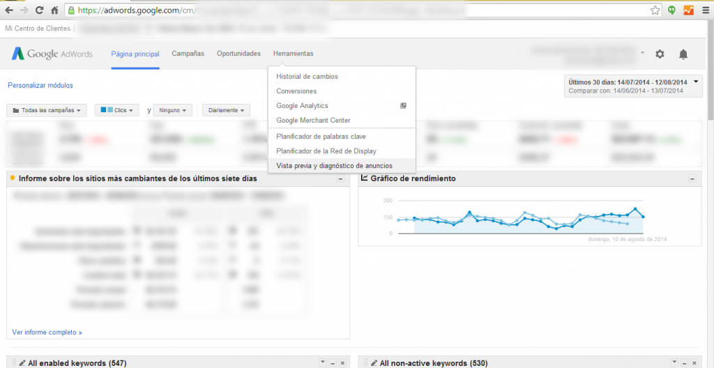 vista previa y diagnostico de anuncios de adwords